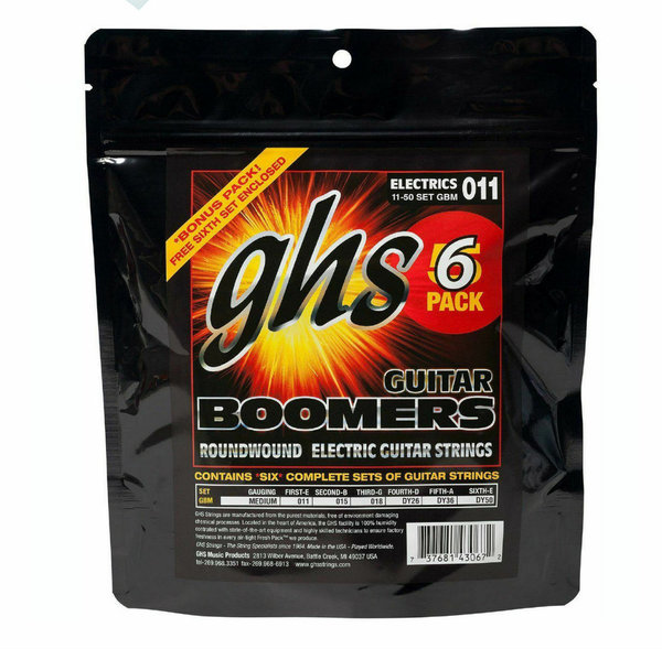 6 Sets GHS 11-50 Boomers Electric Guitar Medium GBM •SPARPACK•