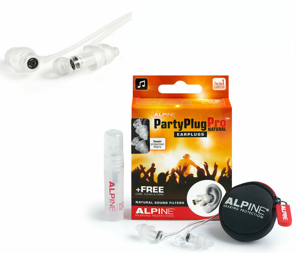 Alpine Party Plug Pro Natural Sound Gehörschutz inkl. Minibox für Musik Konzerte